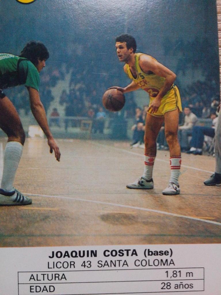 Costa, en una baraja dedicada al baloncesto de 1985 (Heraclio Fournier).