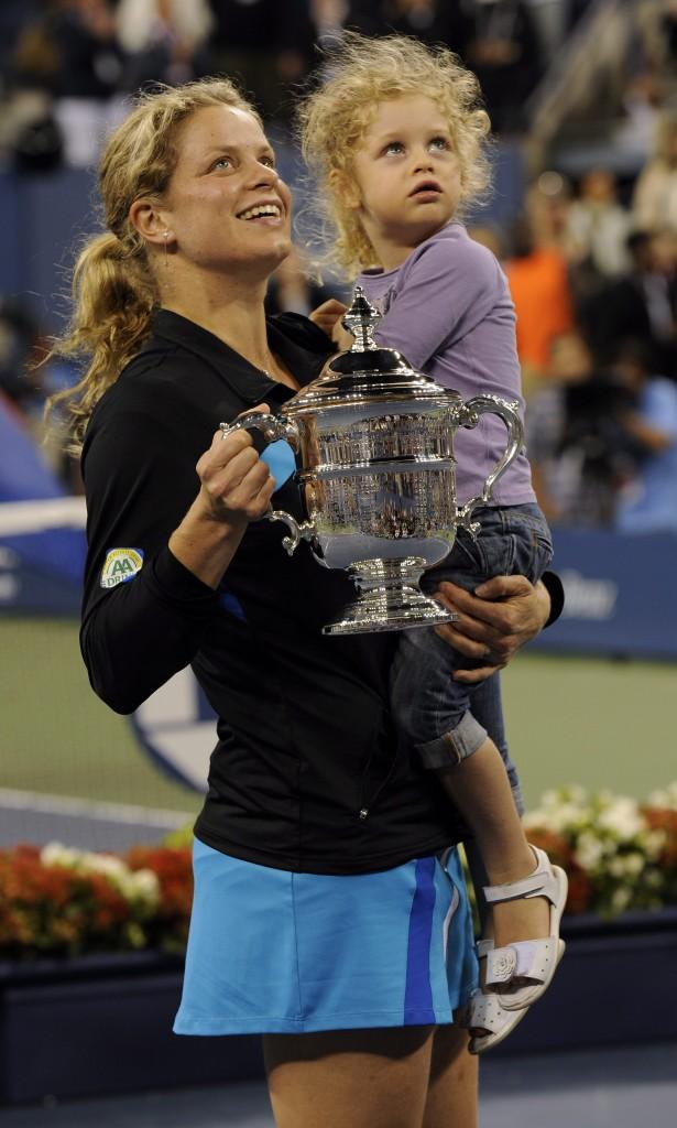 Kim Clijsters, con su hija Jada tras ganar el US Open en 2010 (Archivo 20minutos).