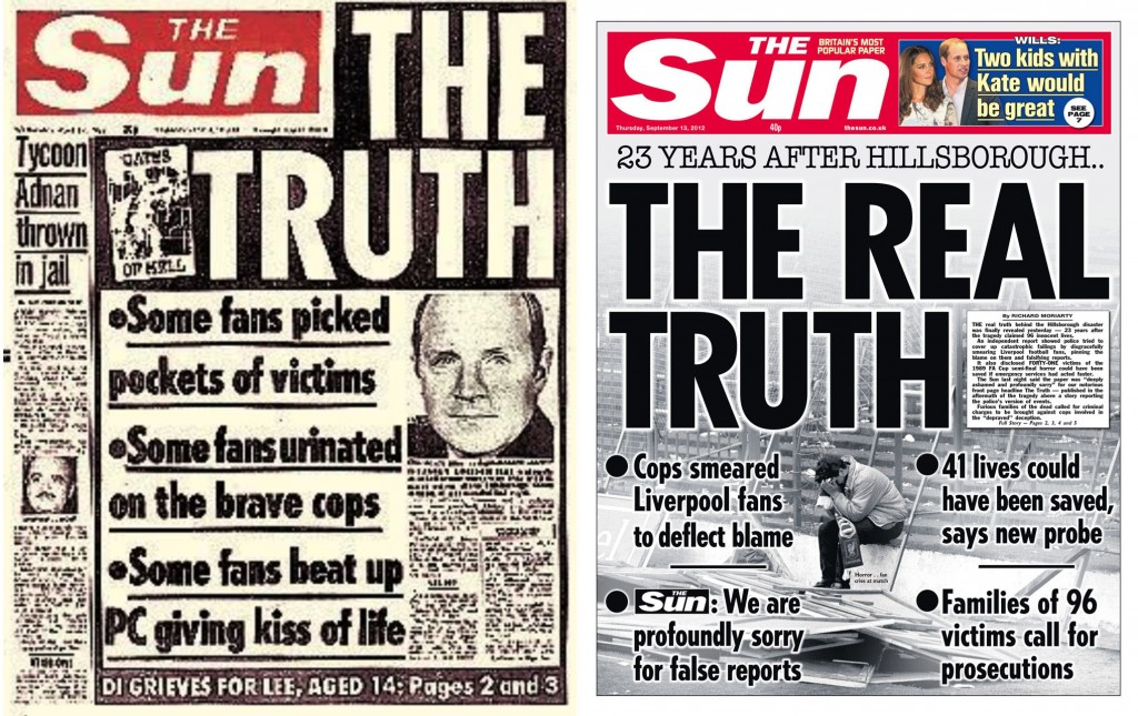 Las dos portadas de 'The Sun' sobre el incidente: la de 1989 y la de 2012.