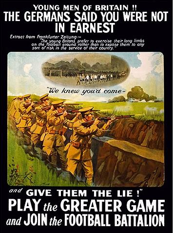 Cartel para el reclutamiento de futbolistas de cara a la I Guerra Mundial (WIKIPEDIA).