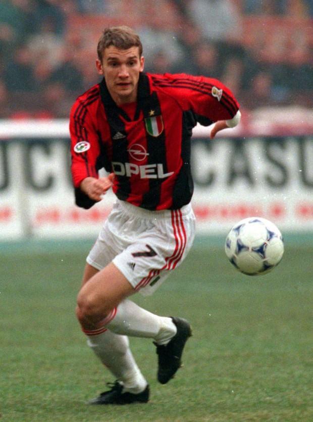 Shevchenko, en acción con el Milan en su primera temporada en el equipo italiano (Archivo 20minutos).