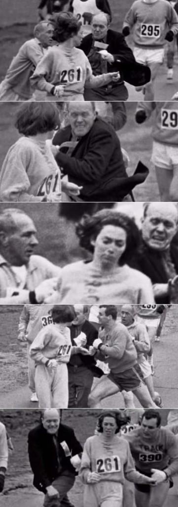Secuencia de imágenes del 'ataque' de Jock Semple a Katherine Switzer en la maratón de Boston (YOUTUBE).
