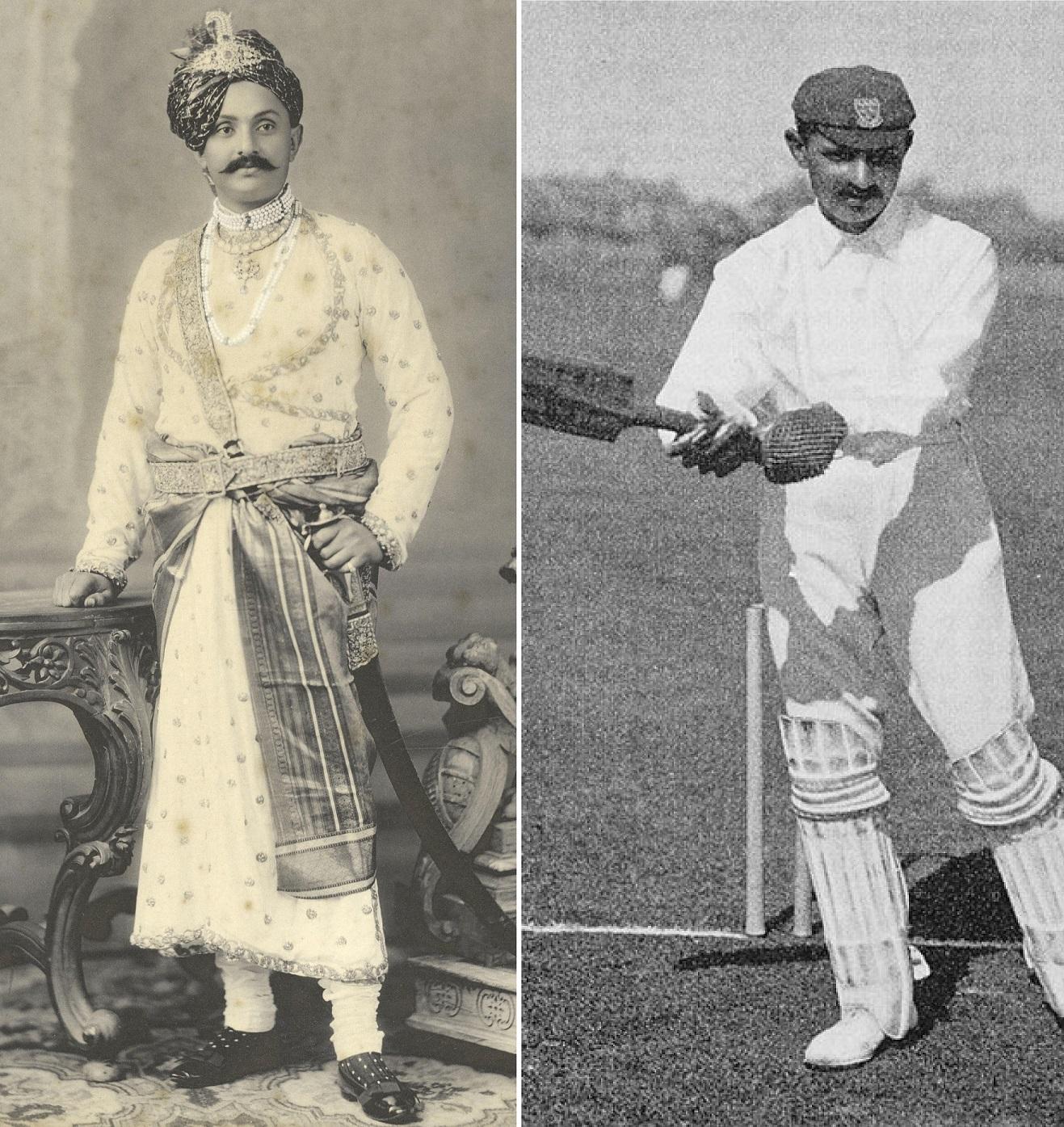'Ranji', como marajá en 1910 y como jugador en 1897 (WIKIPEDIA).
