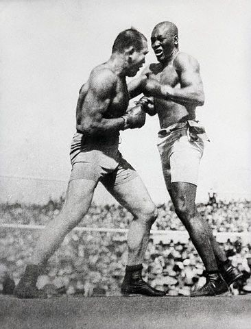 Una imagen del mítico combate entre Johnson y Jeffries en Reno en 1910 (WIKIPEDIA).