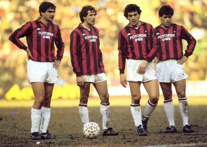 D Bartolomei, con Baresi, Donadoni y Evani en su última temporada en el Milan (WIKIPEDIA).