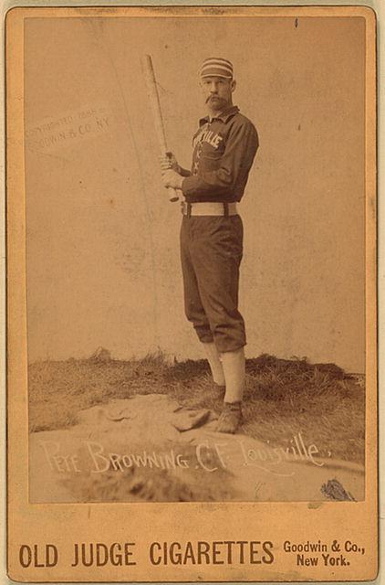 Cromo de béisbol de la temporada 1888-1889 representando a Pete Browning (WIKIPEDIA).