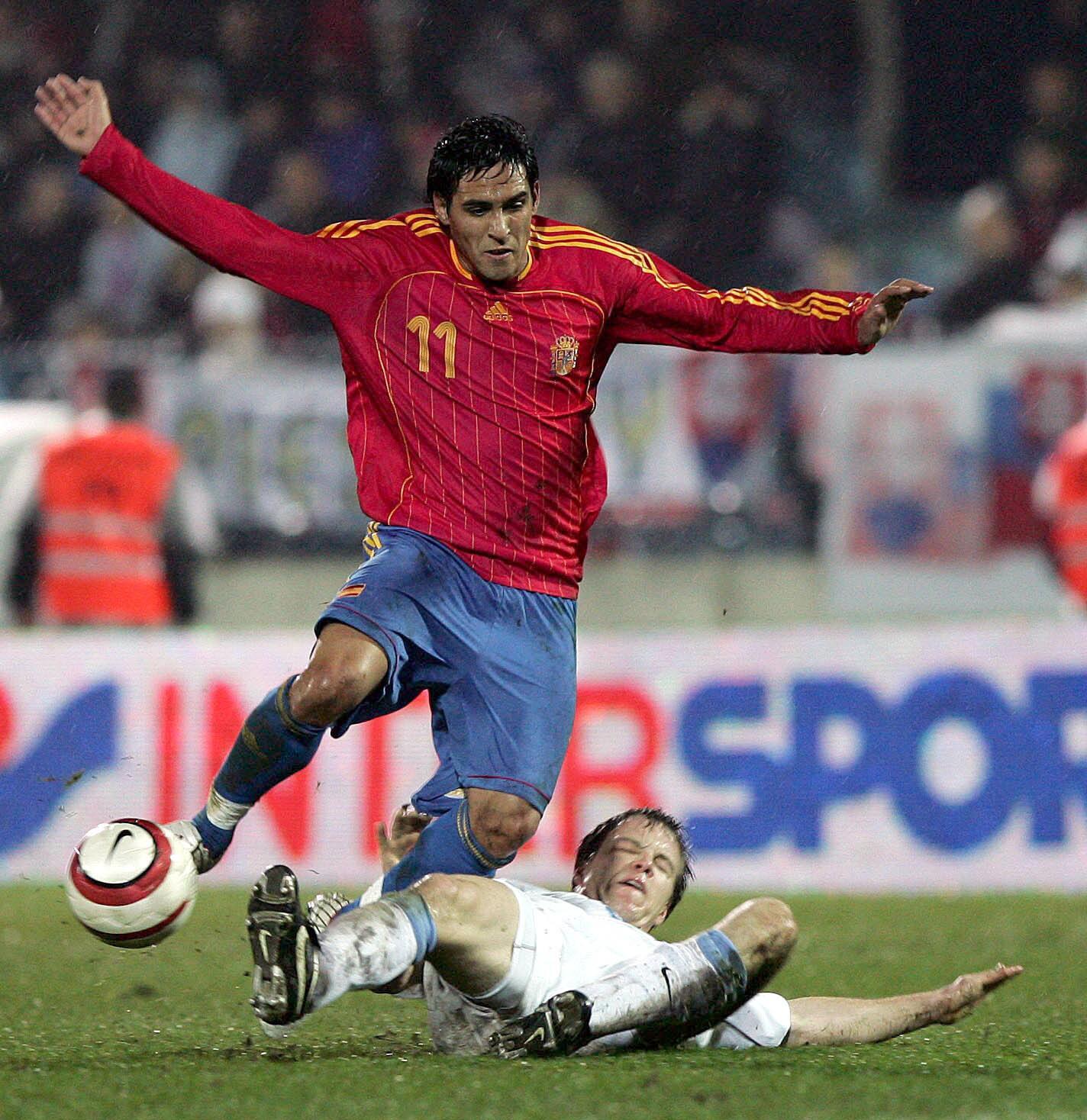 Vicente, en un partido de la selección española ante Eslovaquia en Bratislava correspondiente a la repesca para acudir al Mundial de 2006, disputado en noviembre de 2005 (Archivo 20minutos).