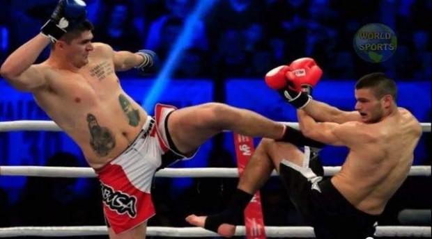 Milicic, en su debut en el mundo del 'kick boxing' (YOUTUBE).