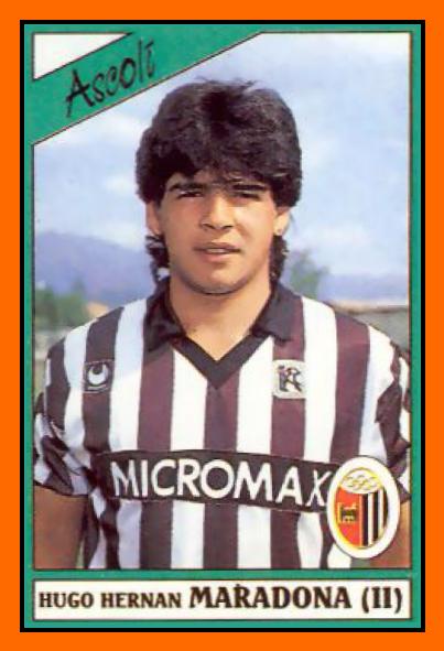 Cromo de Hugo Maradona en su época del Ascoli (PANINI).