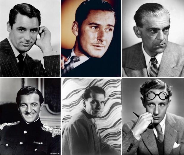 Actores que fueron miembros del Hollywood Cricket Club. De izquierda a derecha, primera fila: Cary Grant, Errol Flynn y Boris Karloff. En la segunda fila, David Niven, Laurence Olivier y Leslie Howard (WIKIPEDIA).