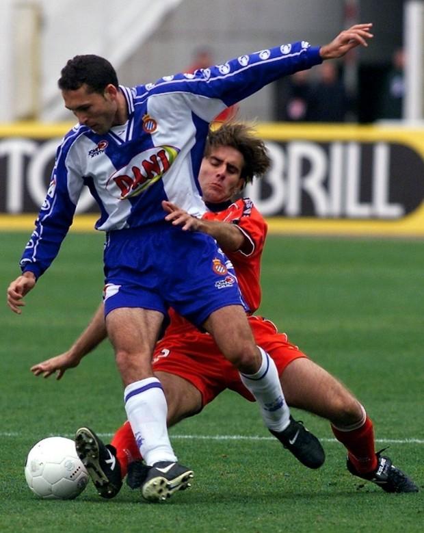 Velamazán, en un partido en Montjuïc contra el Sevilla (Archivo 20minutos).
