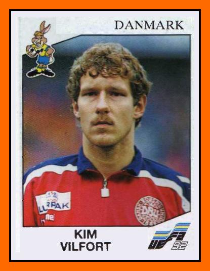 Kim Vilfort, en un cromo para la Eurocopa del 92 (Panini).