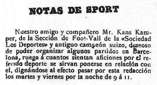 Anuncio de prensa que dio pie a la fundación del Barça (WIKIPEDIA).