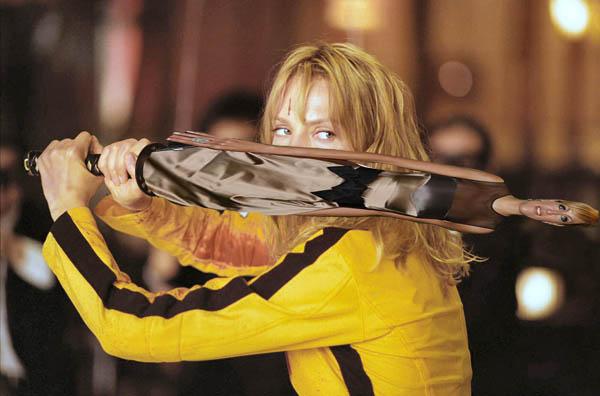 Una escena de Kill Bill tuneada con fotos de archivo.