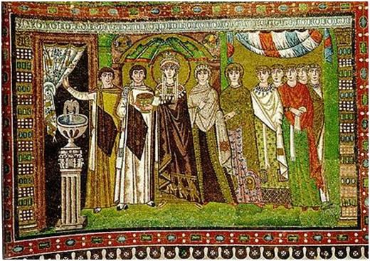 Mosaico de Teodora y su séquito en la iglesia de San Vital de Rávena.