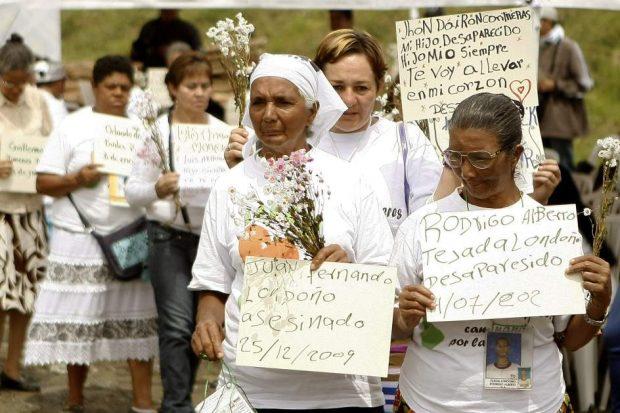 Manifestación en Colombia para exigir búsqueda de desaparecidos. EFE.