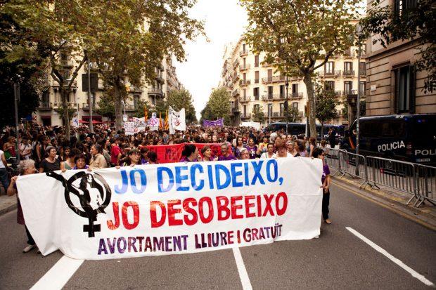 Manifestación en Barcelona por la despenalización del aborto.