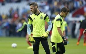 De Gea y Casillas en un entrenamiento con la selección española (GTRES).
