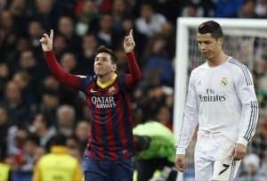 Messi celebra un gol ante Cristiano