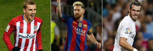 Messi, Griezmann y Bale