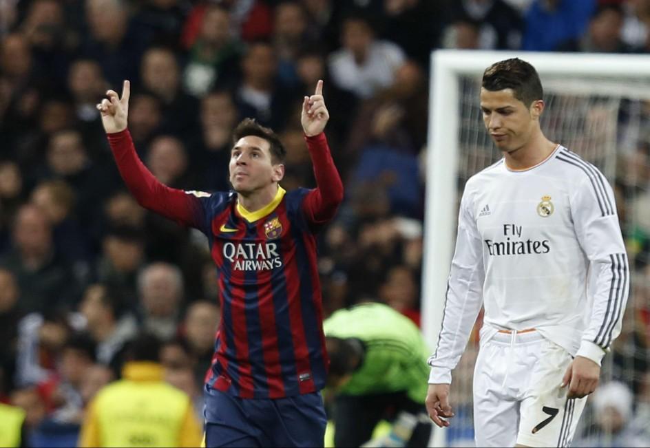 Messi celebra un gol ante Cristiano en el clásico de marzo de 2014 (EFE).