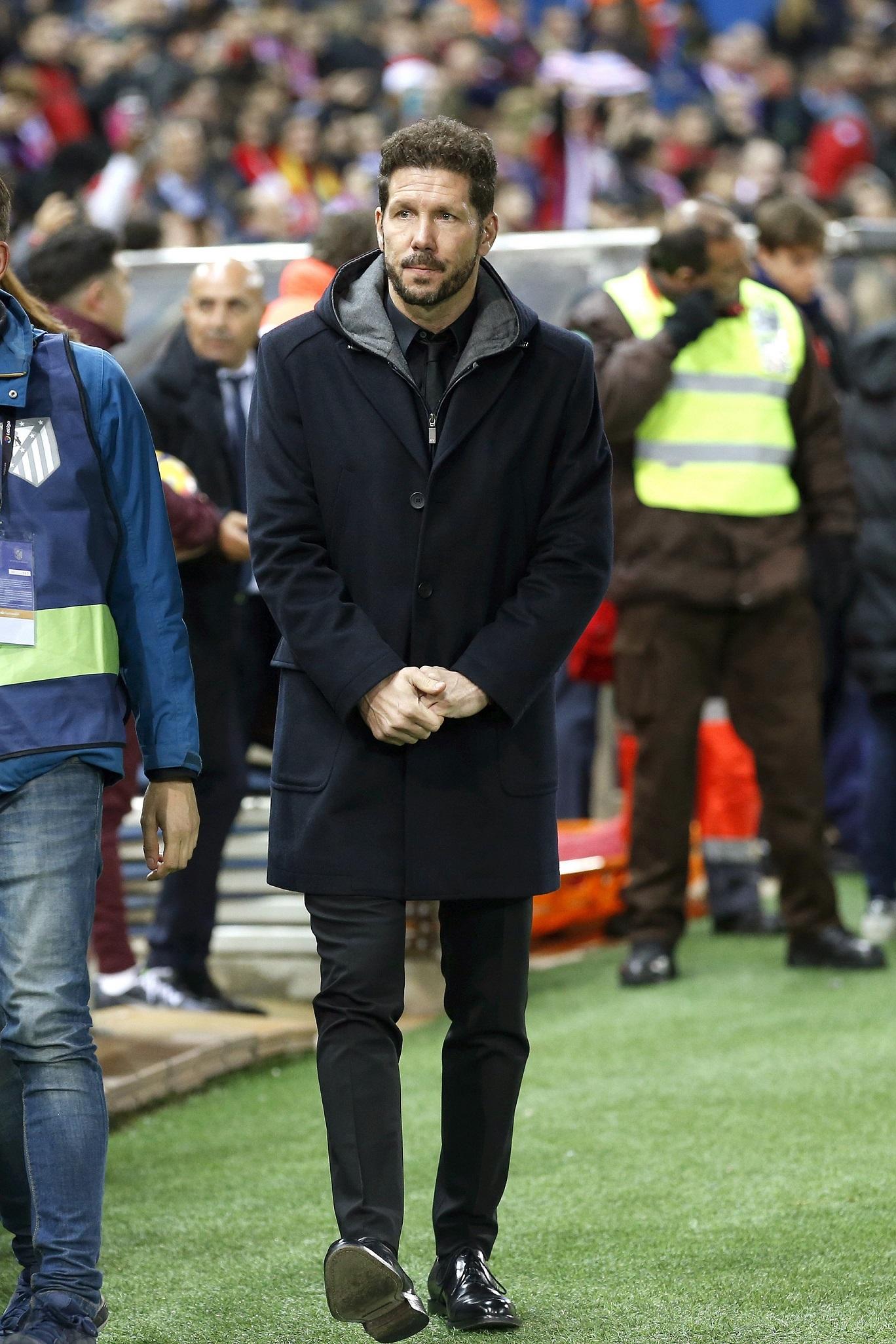 Simeone, este sábado en el Calderón (EFE).