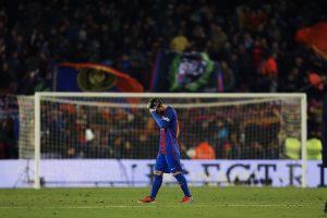Leo Messi lamenta el empate del Real Madrid al final del partido