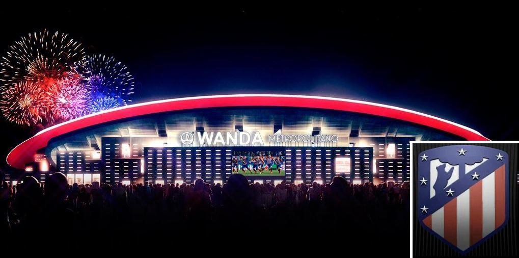 Montaje fotográfico con el nuevo estadio y el nuevo escudo del Atleti (CLUBATLETICODEMADRID.COM).