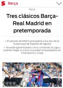 Captura de pantalla de la noticia publicada en el Sport.