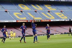 Gol del Barça en un Camp Nou vacío