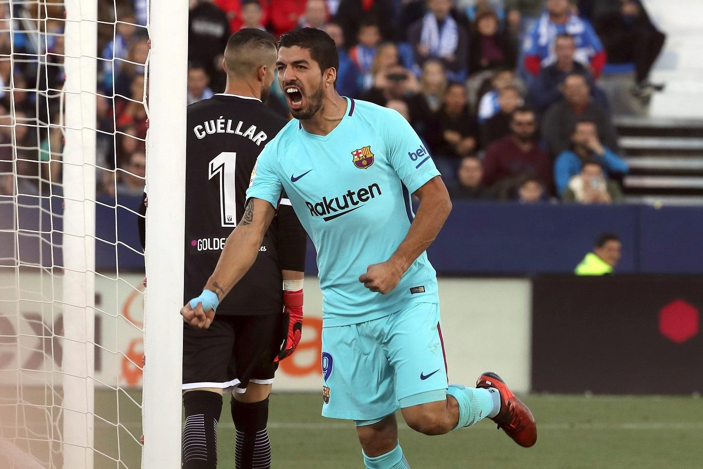 Suárez celebra un gol ante el Leganés. (EFE)