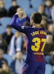 José Arnáiz celebra su gol ante el Celta de Vigo. EFE