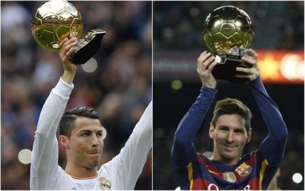 Cristiano y Messi levantan un Balón de Oro.