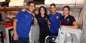 El equipo masculino y femenino del Barcelona