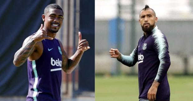 Malcom y Vidal en un entrenamiento del Barça. (EFE)
