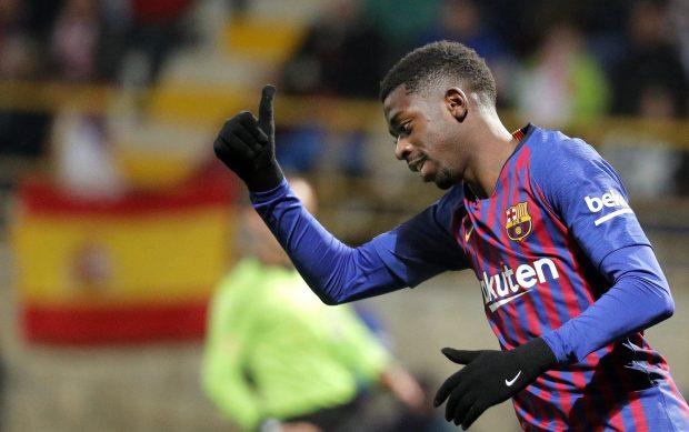 Dembélé en un partido con el Barça. (EFE)