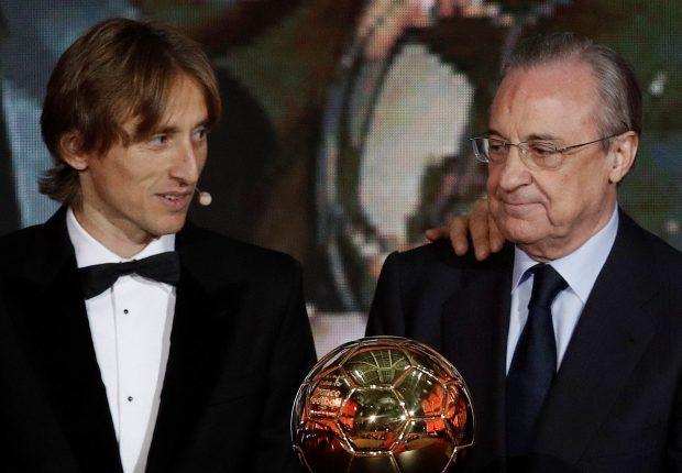 Florentino y Modric con el Balón de Oro