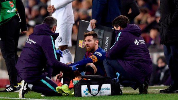 Messi se lesiona ante el Valencia en el Camp Nou. (FC BARCELONA)