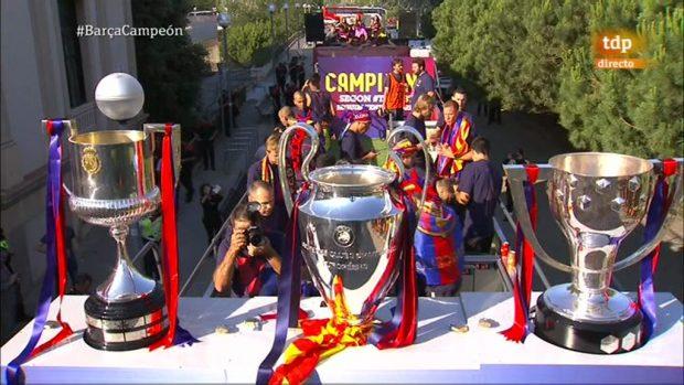 La Copa del Rey, la Liga y la Champions, triplete del Barça en 2015.