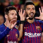 Leo Messi y Luis Suárez celebran un gol del Barça. (EFE)