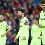 Alba, Messi, Coutinho y Piqué con caras largas en el partido ante el Liverpool. (Action Images)