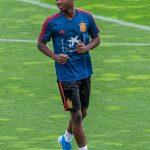 Ansu Fati, en su primer entrenamiento con la selección española sub-21. (EFE)