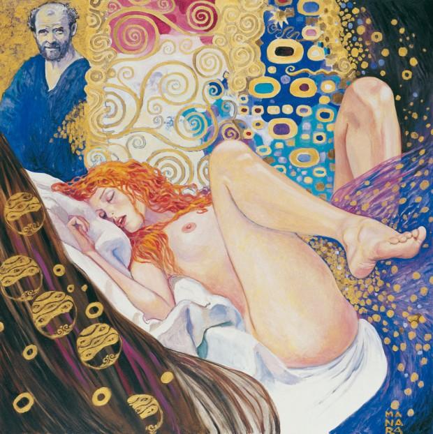 Recreación de 'Danae' de Gustave Klimt, por Milo Manara
