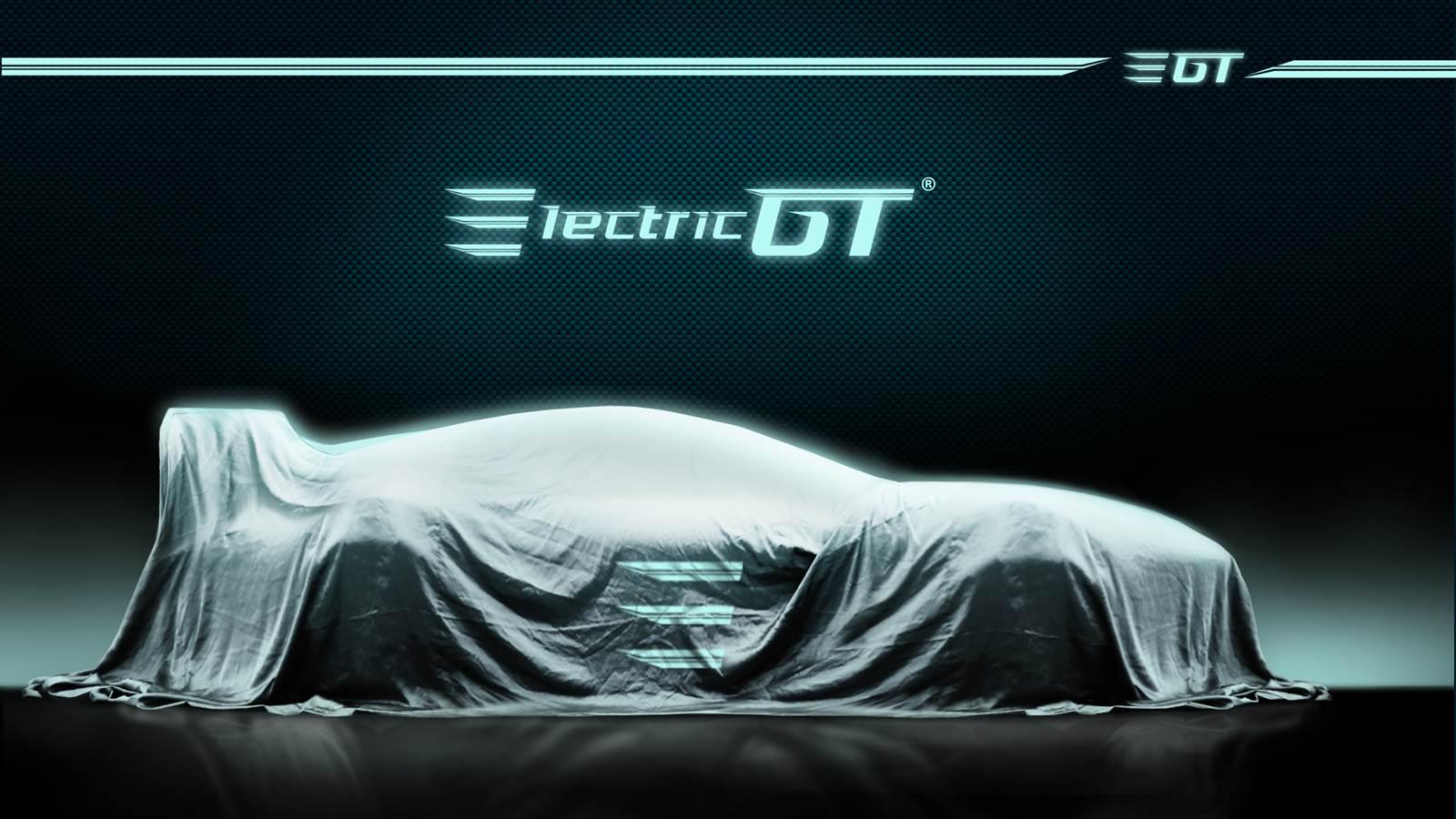 Tras la lona, se esconde el nuevo Electric GT. EGTHoldingsINC