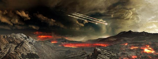 Recreación de la Tierra temprana. Imagen de NASA's Goddard Space Flight Center Conceptual Image Lab.