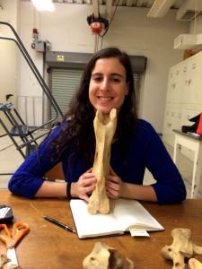 La coautora del nuevo estudio Melinda Danowitz sostiene una vértebra de jirafa. Imagen de NYIT.