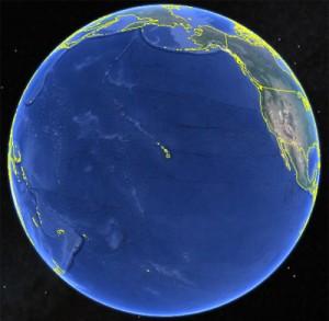 Así se ve la Tierra centrada en Hawái. Imagen de Google Earth.