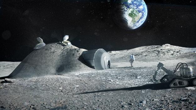 Concepto de la ESA para una base lunar, diseñada por el estudio del arquitecto Norman Foster. Imagen de ESA / Foster + Partners.
