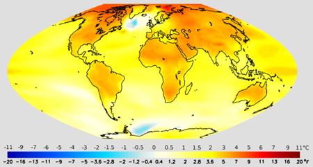 Aumento previsto de las temperaturas entre mediados del siglo XX y mediados del XXI. Imagen de NOAA/GFDL.