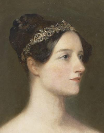Detalle del retrato de Ada Lovelace pintado por Margaret Carpenter en 1836. Imagen de Wikipedia.